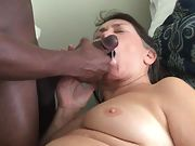 Semen insatiable granny loves being fed hot delicious cum from a black cock